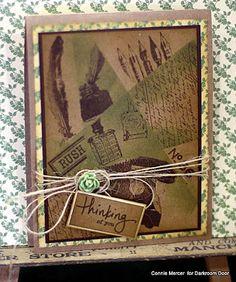 Retiform Technique Card by Connie Mercer using Darkroom Door 'Vintage Office' Rubber Stamp Set.
