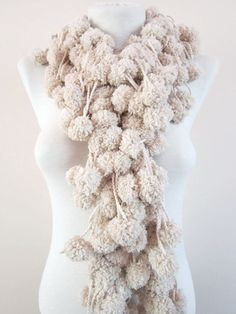 Hand crochet Long Scarf cream Mulberry Scarf Pompom by scarfnurlu Neck Accessories, Winter Accessories, Pompom Scarf, Long Scarf, Hand Crochet, Womens Scarves, Burlap Wreath, Autumn Fashion