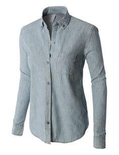 LE3NO PREMIUM Womens Classic Long Sleeve Button Down Poplin Boyfriend Shirt