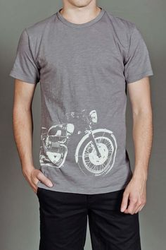 BROOKLYN MOTORS BIKE S/S TEE GREY $39.99 // Liking the white on grey. And my son loves motorcycles. #motorcycles #brooklyn