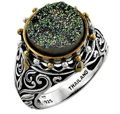 Lime Light Druzy Sterling Silver Gold Plate Ring