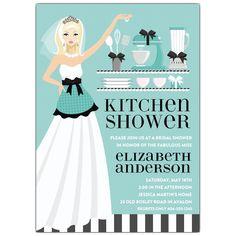 Kitchen Bride Blue Blonde Shower Invitations