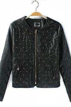 Black Leather and Gold Rivet Decoration Jacket