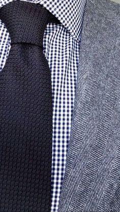 Knit tie, tiny gingham, herringbone. Guy Style Guide.