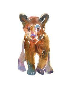 Bear Cub 2 - Watercolor Painting - Animal Painting - Art Print  -  Children's Art.