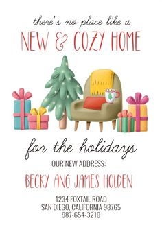 Christmas Interior - Moving Announcement #announcements #printable #diy #template #Moving #newaddress #newhome