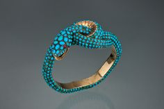 Turquoise and Gold Snake Bracelet with Ruby Eyes from the Victorian Period - c. 1870