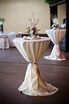 These cocktail tables add just the right amount of flair to this space. From: The Wedding Post of Arkansas wedding blog