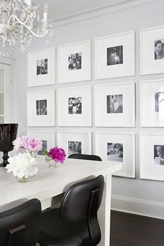 Wall Display Idea - Above Buffet Just 6 White Square Frames 20 x 20 each- Prints within of places you have been.