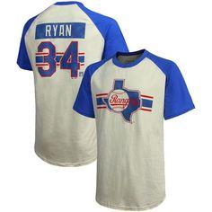 Nolan Ryan Texas Rangers Majestic Threads Cooperstown Collection Hard Hit Player Name & Number Raglan T-Shirt - Cream/Royal