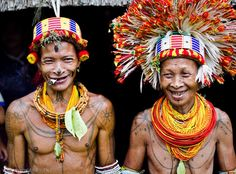 Ancient traditional tattooed Indian tribal people of the Mentawai islands, Indonesia