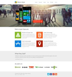 Website Templates ~ Metro Style Windows 8 App Showcase ~ Creative Market