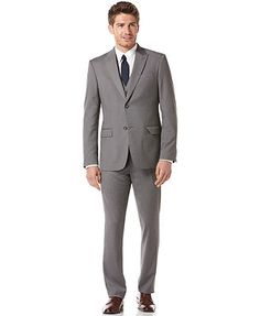 Perry Ellis Suit Separates, EDV Grey Slim Fit Blazers Vest and Pants - Macys - Vest 50, Pants 50, Jacket 120 Everyday Value