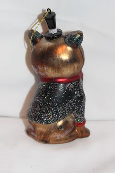 Cat in Glittery Tuxedo & Top Hat Red Bow Blown Glass Christmas Ornament NEW | eBay