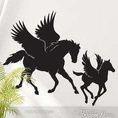 SALE: Pegasus & Baby Horse Vinyl Wall Art - Fantasy Horses Wall Decal, Princess Bedroom Decor, Greek Mythology, Year of the Horse