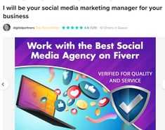 Work with the Best Social Media Agency on Fiverr. Are you tired of searching for freelancers, negotiating the price & getting poor quality results?   What if you could have a skilled team with 13+ years experience learn about your brand, find & create the best content to share with your audience, prepare daily content & make that ready for approval?  All of our packages include scheduling to Facebook, Instagram, Twitter, LinkedIn, Pinterest & Google My Business. Social Media Marketing Manager, Facebook Instagram, Searching, Tired, Management, Content, Create, Twitter