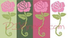 Using Rose Stencil from Dee Zee Supply Sack:  color options using DZ paint colors and rose stencil. #dee zee, #delta, #zeta, #sister, #sorority, #big, #little, #gift, #craft, #idea #rose
