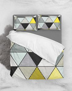 Colorful Concrete Triangles 2 - Yellow, Blue, Gray // Duvet Cover + Pillow Shams by Zoltan Ratko // This pattern design is also available as a wall art, apparel, tech and home product. Cover Pillow, Pillow Shams, Pillow Covers, Bed Pillows, Cozy Bedroom, Master Bedroom, Grey Duvet, Geometric Pillow, Nordic Design
