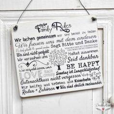 shabbyflair Holzschild FAMILY RULES