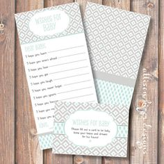Ikat Robins Egg Blue Printable Wishes for by AllisonKizerDesigns, $10.00