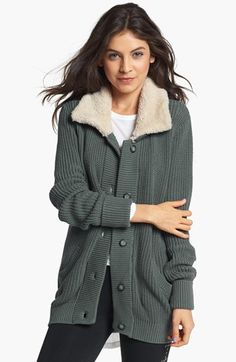 Rubbish® Faux Shearling Collar Knit Jacket (Juniors) available at #Nordstrom