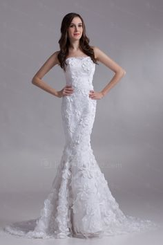 US $371.20 | Satin and Lace Strapless Sweep Train Mermaid Embroidered Wedding Dress