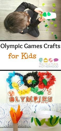 Make these fun and easy crafts with your children to prepare for watching the Olympic Games. Teach your children about the Olympics.
