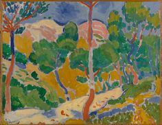 André Derain, Paysage du Midi (Landscape of the Midi), 1906; painting; oil on canvas on board; Collection SFMOMA. Painted at L'Estaque, on the southern coast of France, Landscape combines broken brushstrokes with flat, unshadowed planes of color. This method of painting was revolutionary at the time, and it propelled Derain and his colleagues Henri Matisse and Maurice Vlaminick to the forefront of the first avant-garde art movement of the twentieth century, Fauvism.