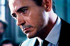 "Robert Downey Jr's Hank Palmer crying during the climactic courtroom scene in ""The Judge"" (note the falling teardrop...awwww, bae...)."