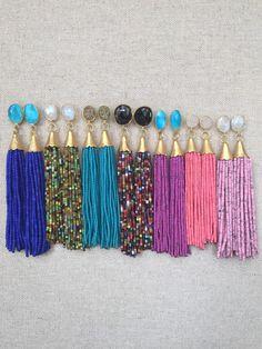 Multi Stud Beaded Tassel Earrings by GoldenstrandJewelry on Etsy