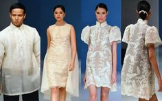 Barong with a difference Modern Filipiniana Dress, Filipiniana Wedding, Long Formal Gowns, Formal Wear, Formal Dresses, Filipino Fashion, Philippines Fashion, Grad Dresses, Beautiful Gowns