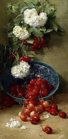 Clara von Sivers (1854 - 1924) : Pompons blancs aux cerises