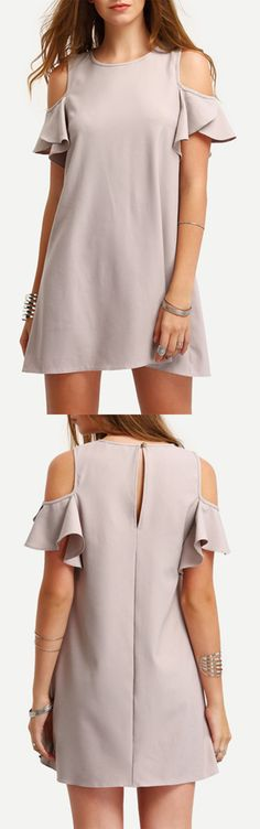 Nude Cold Shoulder Ruffle Sleeves Shift Dress - would love in a different color Cute Dresses, Casual Dresses, Short Dresses, Casual Outfits, Fashion Dresses, Summer Dresses, Outfit Summer, Women's Fashion, Ruffle Sleeve