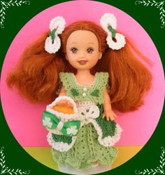 """Crochet Doll Clothes Vintage St. Pats Outfit for 4 ½"""" Kelly & same sized dolls"""