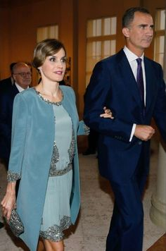 Queen Letitia of Spain and King Felipe VI of Spain are seen at the Miami-Dade College Presidential Medal presentation at the Freedom Tower on September 17, 2015 in Miami, Florida.