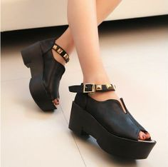 QQ Trend - Studded Peep-Toe Ankle Strap Platforms #Studded #PeepToe #Ankle #Strap #Platforms