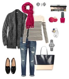 """grey cardigan"" by ulusia-1 ❤ liked on Polyvore featuring L.L.Bean, Current/Elliott, Collette By Collette Dinnigan, Forever 21, Rochas, Bobbi Brown Cosmetics, Eos, OPI, Pandora and Burberry"