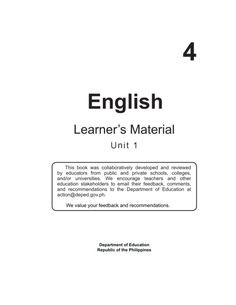 DEPED COPY ii English – Grade 4 Learner's Material First Edition 2015 Republic Act section 176 states that: No copyr. Paragraph Writing Worksheets, Graduation Certificate Template, Teacher Portfolio, English Story, Kindergarten Lessons, Your Teacher, Worksheets For Kids, Lesson Plans, Sentences