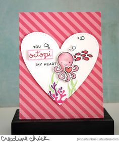Lawn Fawn - Octopi My Heart, Stitched Heart Stackables, Mermaid for You _ card by Jenn for Lawn Fawn blog