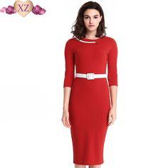 a2387e16e92 Women Large Size Belted Business Midi Dresses Red Three Quarter O Neck 2016  Autumn Lady European Casual Work Formal Sheath Dress