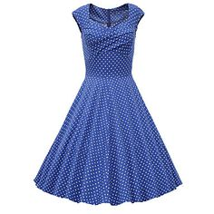 Women's+Going+out+Vintage+/+Cute+Plus+Size+/+A+Line+Dress,Polka+Dot+Sweetheart+Knee-length+Short+Sleeve+Blue+/+White+/+Gray+/+Purple+–+GBP+£+16.09