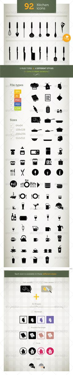 Kitchen Icons #GraphicRiver Kitchen Icons is helpful for your website, presentation, mobile application, or whatever you're designing. Simple, clean and highly customizable, it can be easily adjusted to fit your needs. 1. Appliances 2. Cups 3. Cutlery 4. Drinks 5. Jugs 6. Tableware Features 92 Kitchen Icons Available in: EPS, PSD, CDR, AI and PNG (64px, 128px, 256px, 512px) 4 Different Styles Color & B&W Versions Included Easy to change colors and adjustable to any size Includes AI/CDR/EPS…