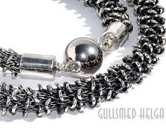 Handknitted silver neclace by Helga Markhus, Norway #gullsmedhelga , gullsmedhelga.com Norway, Jewelry Design, Bracelets, Silver, Fashion, Bangles, Moda, Money, La Mode