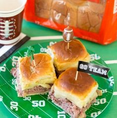 Looking for the perfect mini sandwiches to serve to your game day crowd? Prep this crowd-pleasing favorite; easy beef and pepper jack cheese baked sandwiches! You can prepare them the day before and pop them into the oven when ready to eat. Delicious thinly sliced beef is topped with zesty pepper jack cheese on King's Hawaiian dinner rolls! Baked in the oven, they all come out hot and ready for your halftime. They won't last long! King's Hawaiian Recipes.