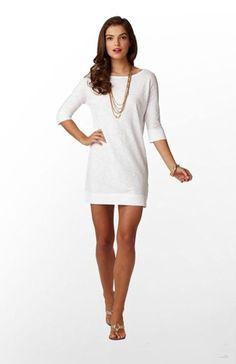 Women's Lilly Pulitzer Cassie Dress Resort White 100% Cotton Size M Excel. Cond.