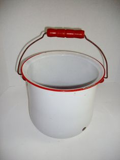 Vintage Enamelware Pot White Red Trim Wooden Handle 1940's. Got one today and mine has the lid with it.