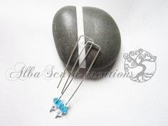 Elegant crystal earrings blue di AlbaScuracreation su Etsy