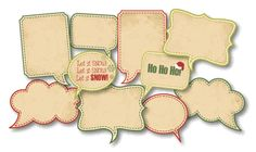 Christmas Vintage Speech Bubbles - set of 10