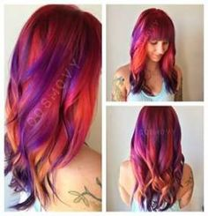 New Hair Color Short Sunset Ideas - Kurzhaarfrisuren Cute Hair Colors, New Hair Colors, Cool Hair Color, Hair Colour, Hair Highlights And Lowlights, Red Ombre Hair, Purple Hair, Sunset Hair, Galaxy Hair