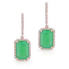 Anne Sisteron  14KT Rose Gold Rectangle Chrysoprase Diamond Earrings ($1,085) ❤ liked on Polyvore featuring jewelry, earrings, rose, chrysoprase earrings, rose diamond earrings, pink gold jewelry, diamond earring jewelry and rose gold earrings